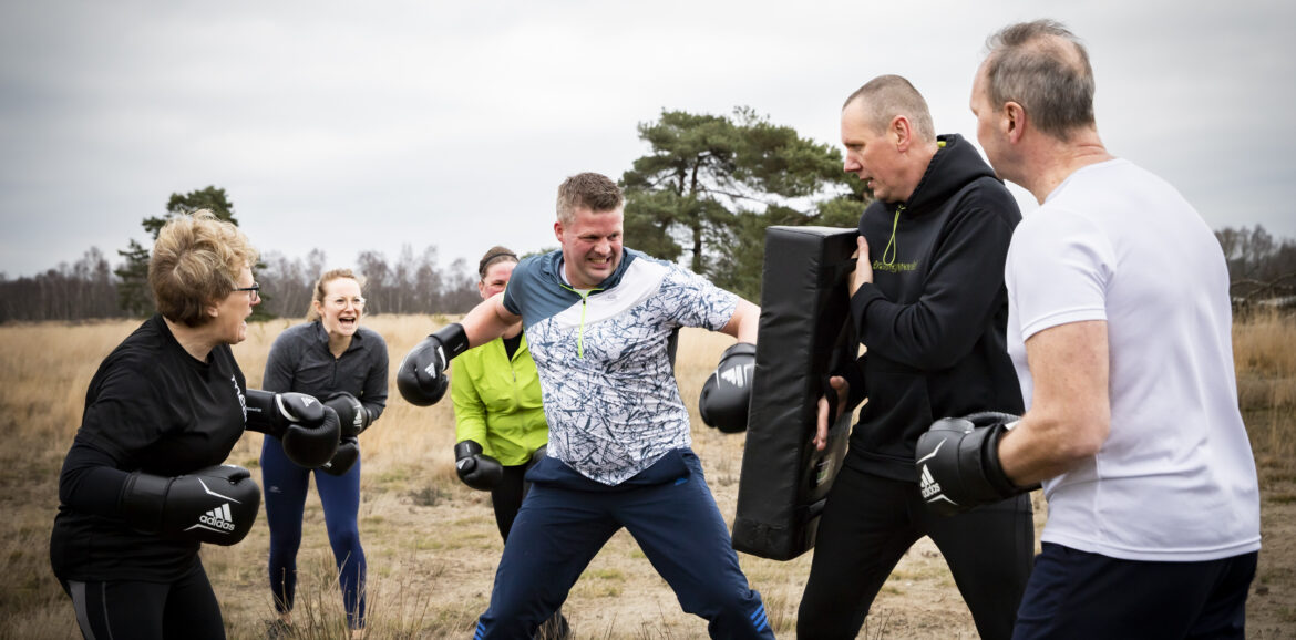 Doorbraakoefening outdoor bokscoaching interventie tijdens de workshop
